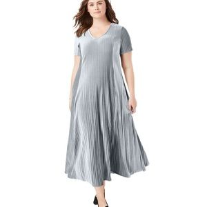 WOMAN WITHIN Pleated Crinkle Velour Maxi Dress